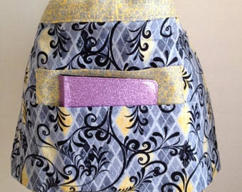Vendor Half Waist Apron Craft Art Teacher iPad Black Yellow Gray Fabric (4 Pockets)