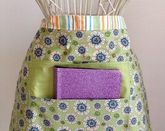 Vendor Waist Half Apron Teacher Craft iPad Device Orange Green Flower Stripe Fabric (4 Pockets)