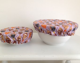 Reusable Eco-Friendly Environmental Fabric Picnic Food Bowl Covers Lids Cats (Set of 2)