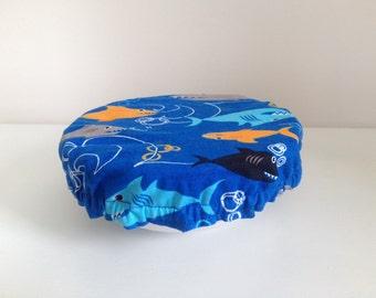 Reusable Eco-Friendly Fabric Food Snack Bowl Mug Covers Lids Shark Beach