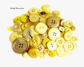 Vintage Yellow Cream Tan Plastic Button Lot