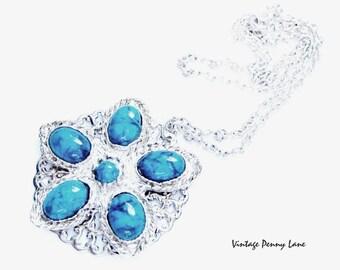 Turquoise Pendant Necklace, Vintage Silver Chain