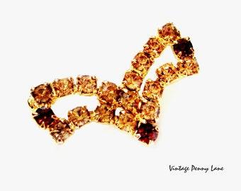 Amber Rhinestone Brooch, Vintage Gold Pin