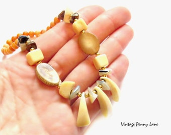Vintage Bone Bead Necklace, Horn / Shell