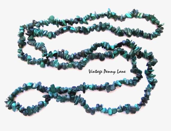 Vintage Malachite Gemstone Necklace, Green Beads