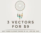 Vector clipart - .eps or .ai digital clip art pack, any 3 three clipart set in vector format, digital designs, vectorized