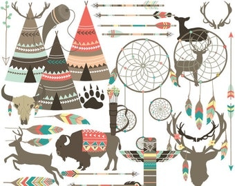Tribal clipart - teepee feathers clip art ethnic deer dreamcatcher buffalo arrows antlers totem tee pee dream catcher designs commercial use