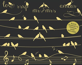 Birds on a wire clipart - gold black silhouette whimsical cute birdies birdy romantic wedding digital musical personal and commercial use