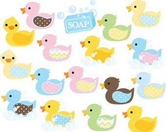 Rubber ducks clipart - nursery clip art duckies ducky whimsical cute baby ducks yellow pastels pink blue green polka dots commercial use