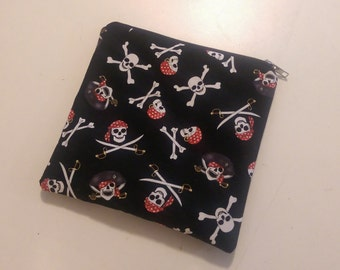 PIRATE Skulls Cosmetics Zippered Pouch
