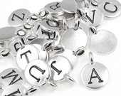 Custom Mix Your Choice of 11mm Letter Initial Pendants Tiny Silver Charms by TierraCast You Collection Silver Alphabet Number Symbol Charms