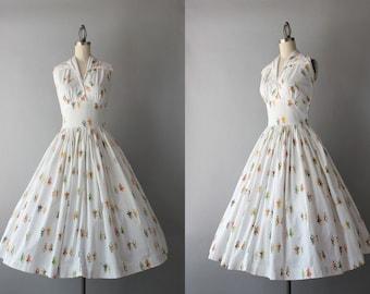 Vintage 50s Dress / 1950s Novelty Print Halter Dress / 50s White Cotton Sundress