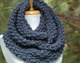 Knit Infinity Scarf, Chunky Scarf, Circle Scarf, Women's Scarf, Wool Scarf, Denim Blue Scarf, Men's Scarf, Winter Scarf, Hand Knitted Scarf