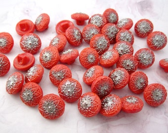 41 pcs. vintage glass red coral flower w silver plate shank buttons 14mm - b242