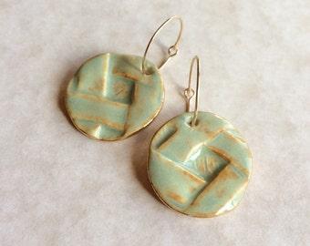 Basket Weave Porcelain Earrings
