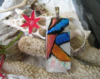 """CHUNKY Glass Pendant with FREE matching cord  """"Multicolored""""  020"""
