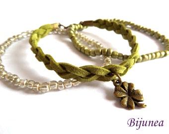 Green leather leaf bracelet - Multi strand bracelet - Leather leaf bracelet - Leather green bracelet - Multi strand leather bracelet b128