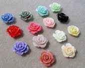 SALE Drilled Resin Ruffled Rose Flower Beads with Hole Small Choose Your Colors 15mm 925