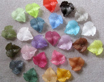 Frosted Lucite Acrylic Leaf Beads You Choose Colors 440