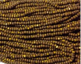 5 hanks - RARE 10/0 Czech 1 cut Yellow Picasso seed Beads -Short hank - Very hard to find & High Quality