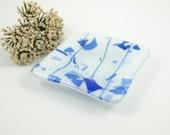Blue and White Mini Glass Dish, Glass Pinch Dish, Small Glass Dish