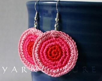 Crochet Retro Pink Disc Earrings - Hand CrochetedThread Earrings