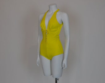1990s swimsuit / Go Bananas in this Peek a Boo Vintage 90's does 60's Yellow Swimsuit