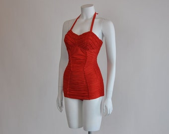 50s swimsuit / Vintage 1950's Red Ruched Janzten Swimsuit