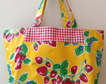 Beth's XL Yellow Strawberry Oilcloth Market Tote with Exterior Pockets