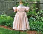 Peach smocked girl toddler dress, butterfly smocking, size 2T, ready to ship, OOAK,  party dress, birthday gift, Easter, heirloom, classic