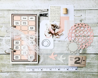 Peach Vintage Bingo Card Mixed Paper Journal Kit. Art Journal. Mini Album. Scrapbook.