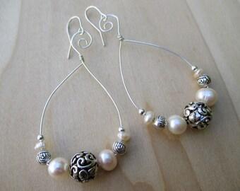 White Pearl Hoop Earrings Sterling Silver Hoops June Birthstone June Gift