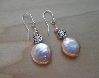 Pink Pearl Earrings Coin Pearl Earrings June Birthstone June Gift Bridal Earrings