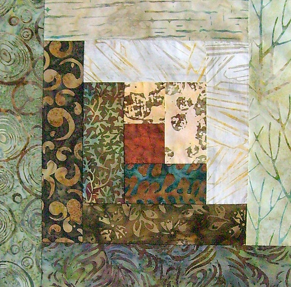 12 Block Log Cabin Pre Cut Quilt Kit 29x39 Bali By