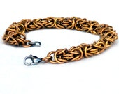 Bronze Byzantine Chainmaille Bracelet, Stainless Steel Clasp, bronze bracelet, bronze jewelry, bronze chainmaille, lobster clasp
