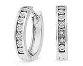 Diamond Hoop Earrings in 10k White Gold or Sterling Silver, Earrings For Women, Jewelry Gift