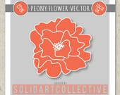 PEONY Vector Design - ok for Logos, Merchandising, Commercial, Invitations and More!