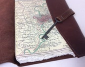 Rome Italy Travel Journal with Map / Gorgeous Leather and Skeleton Key