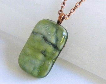 Shimmering Green Fused Glass Pendant