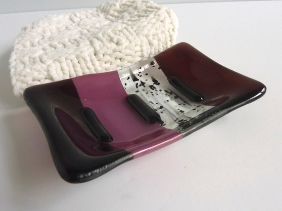 Fused Glass Soap Dish in Deep Plum