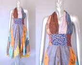 Hippie Revival halter dress | 1970s scarf print  dress | vintage 70s dress