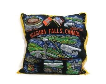 Vintage Pillow Cover Velvet Case Souvenir Niagara Falls Canada