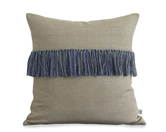 Cobalt Fringe Pillow Cover in Natural Linen - Hand Knotted Accent Pillow by JillianReneDecor - Modern Home Decor - Boho Chic - Indigo Blue