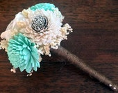 Mini/Toss Wedding Bouquet made with sola flowers - choose your colors - balsa wood - Alternative bouquet - bridesmaids - rustic - natural