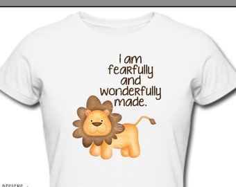 Iron On ~ I am fearfully and wonderfully made LION~ Printable Digital Download for Iron on Transfer for T-Shirt, tote~ Christian, Baby