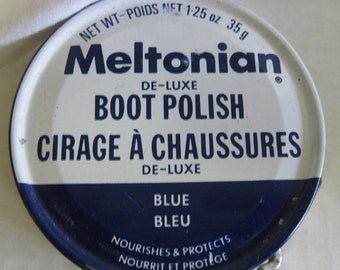 Vintage 1960s Meltonian Boot Polish Tin Blue Shoe Advertising Reckitt UK