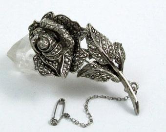 Vintage Marcasite Rose Brooch, Marcasite Brooch, Marcasite Pin, Rose Pin, 1950s Brooch, Silver Tone, Retro Rose Brooch