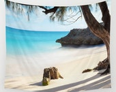 Beach Tapestry, Nautical Tapestry, Coastal Large Wall Decor, Surf Photo Tapestry, Aqua Blue, Nature Tapestry, Sea Water Tapestry, Tree, Rock