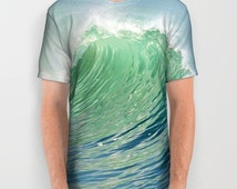 Ocean Wave All Over Print Unisex Adult T-Shirt, Surf Wearable Art, Aqua Blue Green, Unique Design, Women, Men, Jogging, Yoga, Gym, Running