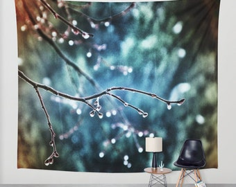 Rainy Day, Wall Tapestry, Large Wall Art, Tree Wall Tapestry, Modern Art, Home Decor, Nature Tapestry, Wedding Gift, Sky Blue, Raindrops